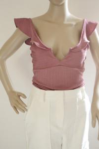 Body Różowe Gina Tricot XS 34 Sexy Prążkowane Falbanka...