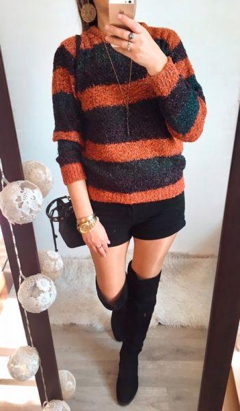 Swetry Sweter Damski w paski ciepły M L