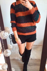 Sweter Damski w paski ciepły M L