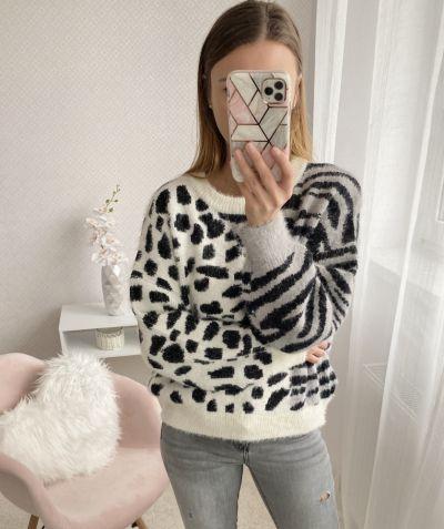 Codzienne Sweter w zebrę cieplutki idealny na jesień