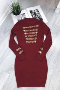 Świetna dzianinowa burgundowa sukienka S zdobienia