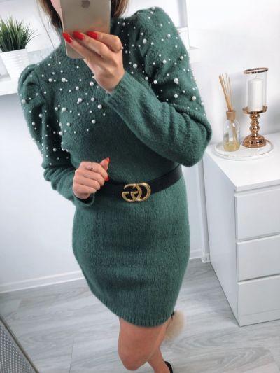 Suknie i sukienki piękna zielonkawa dzianinowa sukienka z perełkami
