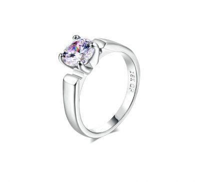Pierścionki Nowy prosty pierścionek jedna cyrkonia srebrny kolor