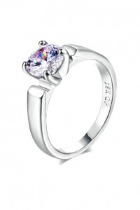 Nowy prosty pierścionek jedna cyrkonia srebrny kolor...