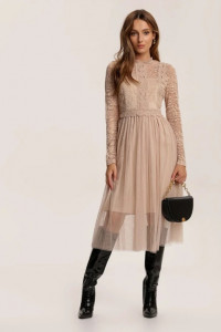Nowa piękna beżowa sukienka tiul koronka...