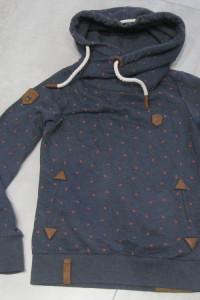 bluza kangurek Naketano S granatowa w biedronki