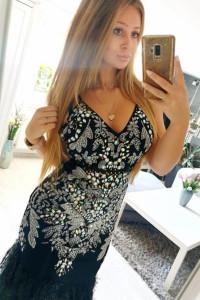 Sukienka czarna Asos piórka cekiny 38 M...