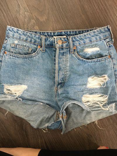 Spodenki Jeansowe szorty z wysokim stanem H&M 36