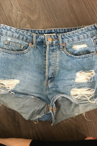Jeansowe szorty z wysokim stanem H&M 36