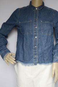 Koszula Dzinsowa H&M XS 34 Jeansowa Dzins Postrzępiona...