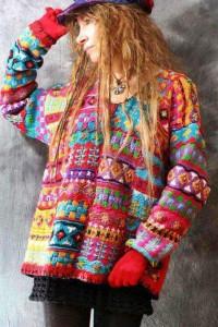 Kolorowy wzorzysty luźny sweter