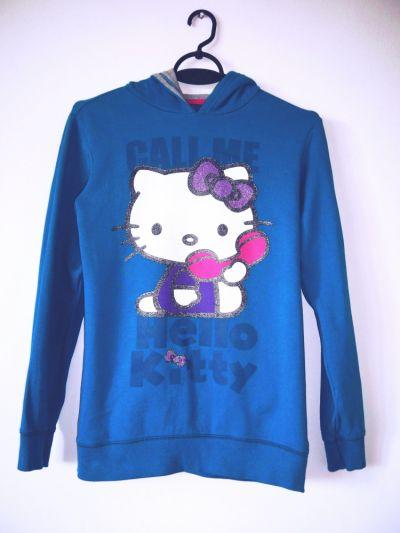 Bluzy Niebieska bluza Hello Kitty emo pastel goth turkusowa