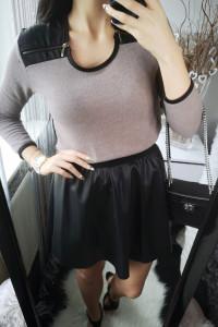 Sweterek damski ze skórkowymi wstawkami i zamkami uniwersalny...