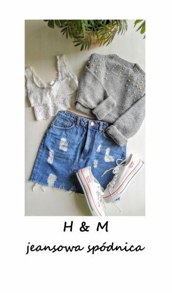 Spódnice Jeansowa mini spódniczka z przetarciami bawełna