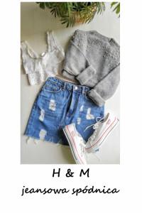 Jeansowa mini spódniczka z przetarciami bawełna...