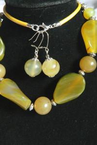 Labradoryt i agat elegancki zestaw biżuterii srebro...