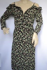 Sukienka Topshop Kwiaty L 40 Odkryte Ramiona Kopertowa...