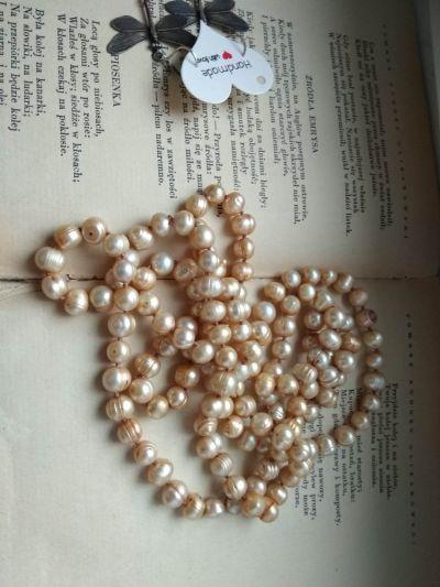 Korale perły słodkowodne sznur naszyjnik ecru