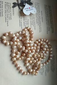 perły słodkowodne sznur naszyjnik ecru