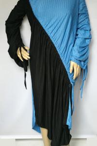 Sukienka Zara S 36 Niebieska Czarna Prążkowana Asymetryczna...
