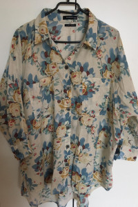 Koszula w kwiaty lniana len...