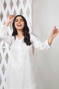 Nowa indyjska tunika XS 34 S 36 biała bawełna haft kameez etno boho hippie folk sari Bollywood kwiaty japoński ogród