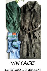 Vintage szlafrokowy płaszcz z paskiem S M...