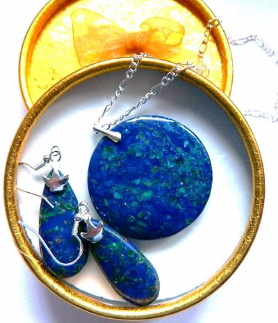 Komplety Lapis lazuli z malachitem i srebro elegancki zestaw biżuterii