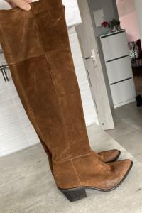 Venezia brązowe kozaki kowbojki za kolano skóra skórzane