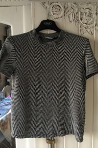 Koszulka czarna w paski Zara M