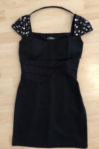 Włoska Czarna Sukienka Mini Z Kamieniami Sexy S...