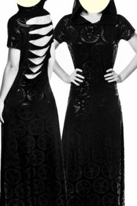 KillStar babhomet długa sukienka z kapturem roz L
