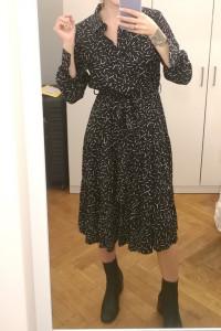 Nowa sukienka Reserved XS szmizjerka midi czarna wiązana...