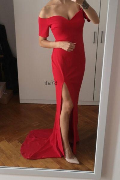 Suknie i sukienki Nowa czerwona sukienka S maxi dekolt tren Club L