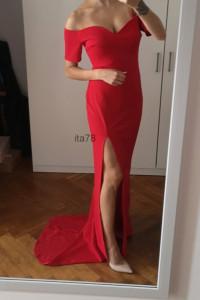 Nowa czerwona sukienka S maxi dekolt tren Club L...