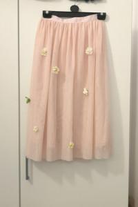 Tiulowa spódnica midi H&M pudrowy róż naszywane kwiatki L 40...