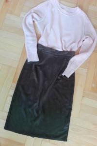 Zielona oliwkowa zamszowa spódnica S M