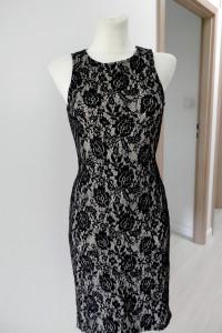 Sukienka Czarna Tuba Wieczorowa Piankowa Cekiny Koronka Dopasowana Imprezowa Balowa by UK 38