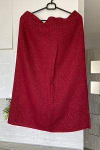 vintage bordowa spódnica ołówkowa złota nitka...