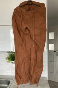Lindex lniane spodnie karmelowe brązowe len