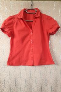 Ceglasta koszula czerwona z krótkim rękawem używana tania xs s m 34 36 38