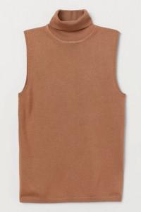 Sweterek bezrękawnik z golfem półgolf karmelowy brązowy 38 M bez rękawów