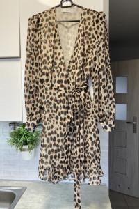 Mango sukienka panterka leopard kopertowa szyfonowa