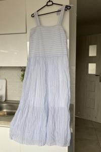 Sisley nowa sukienka maxi prążkowana ciążowa do karmienia