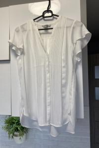 HM biała bluzka szyfonowa plisy elegancka