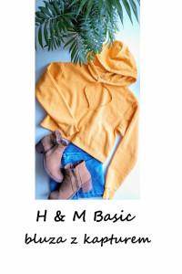 Krótka bluza z kapturem HM Basic S M musztardowa...