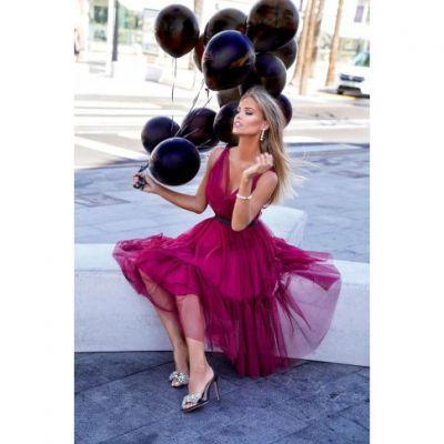 Suknie i sukienki Rozkloszowana tiulowa sukienka Paris Emo S bordowa amarantowa
