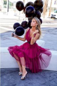 Rozkloszowana tiulowa sukienka Paris Emo S bordowa amarantowa