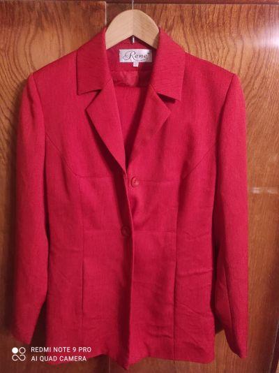 Komplety Czerwony zestaw żakiet i spodnie
