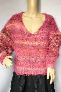 Sweter Włochaty Różowy Paski Bik Bok XS 34 Oversize...